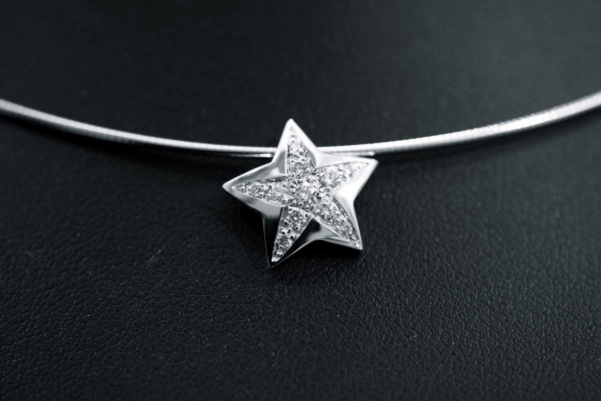 "Pendentif ""Stars"". Or gris, diamants"